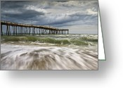 Beach Scene Greeting Cards - Outer Banks NC Avon Pier Cape Hatteras - Fortitude Greeting Card by Dave Allen