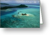 Tourists And Tourism Greeting Cards - Outer Islands Of Bora Bora As Seen Greeting Card by Todd Gipstein