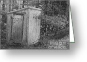 Old Potty Greeting Cards - Outhouse Greeting Card by Denise Jenks