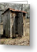 Vintage Outhouse Greeting Cards - Outhouse Greeting Card by Gayle Johnson
