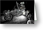 Hot Rod Drawings Greeting Cards - Outlaw Ghost Greeting Card by Bomonster