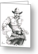 Cowboy Pencil Drawing Greeting Cards - Outlaw Greeting Card by Murphy Elliott