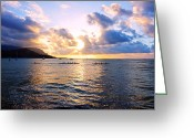Kevin W .smith Greeting Cards - Outrigger Canoes Hanalei Bay Kauai Greeting Card by Kevin Smith