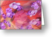 Pink Flower Prints Greeting Cards - Outside Inspirations Greeting Card by Janie Johnson