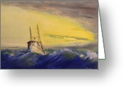 Rough-seas Greeting Cards - Outside the Jetty Greeting Card by Christopher Jenkins