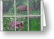 Vintage Glass Art Greeting Cards - Outside The Window Greeting Card by Peggy Roberson