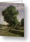 Outskirts Greeting Cards - Outskirts of a village near Beauvais Greeting Card by Jean Baptiste Camille  Corot
