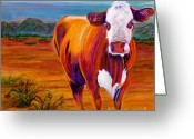 Cows Framed Prints Greeting Cards - Outstanding in His Field Greeting Card by Andrea Folts