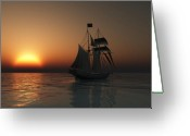 Sailing Ships Greeting Cards - Outward Bound Greeting Card by Timothy McPherson