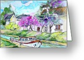 Canal Drawings Greeting Cards - Ouzouer sur Trezee in France 01 Greeting Card by Miki De Goodaboom