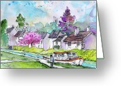 Canal Drawings Greeting Cards - Ouzouer sur Trezee in France 02 Greeting Card by Miki De Goodaboom
