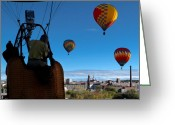 Mill Greeting Cards - Over Auburn and Lewiston Hot Air Balloons Greeting Card by Bob Orsillo