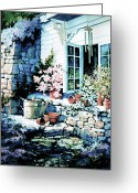 Flower Still Life Prints Painting Greeting Cards - Over Sleepy Garden Walls Greeting Card by Hanne Lore Koehler