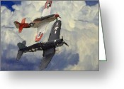 Plane Greeting Cards - Over the Clouds 2 Pastel Greeting Card by Stefan Kuhn