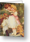 The Kiss Greeting Cards - Over the Garden Wall Greeting Card by Frederick Morgan