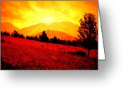 Adirondack Greeting Cards - Over the Mountain Greeting Card by Emily Stauring