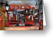 Chimney Pastels Greeting Cards - Over The Roofs Greeting Card by EMONA Art