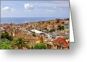 Middle Ages Greeting Cards - Over the roofs of Sanremo Greeting Card by Joana Kruse