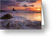 Ocean Beach Greeting Cards - Overcome Greeting Card by Mike  Dawson