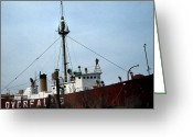 Lighthouse Home Decor Greeting Cards - Overfalls Lightship Greeting Card by Skip Willits