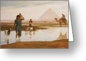 Puddle Painting Greeting Cards - Overflow of the Nile Greeting Card by Frederick Goodall