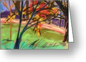 Colours Pastels Greeting Cards - Overhangs the Path Greeting Card by John  Williams