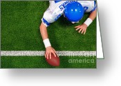 Running Back Greeting Cards - Overhead American football player one handed touchdown Greeting Card by Richard Thomas