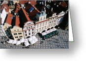 Town Hall Greeting Cards - Overhead Of Houses In Old Town Square From Town Hall Tower Greeting Card by Paolo Cordelli