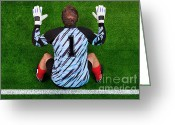 Player Photo Greeting Cards - Overhead shot of a goalkeeper on the goal line Greeting Card by Richard Thomas