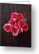 Directly Above Greeting Cards - Overhead View Of Flowers Greeting Card by Fumie Kobayashi