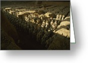 Graves And Tombs Greeting Cards - Overhead View Of The Terra-cotta Greeting Card by O. Louis Mazzatenta