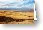 Photography Tk Designs Greeting Cards - Overlooking Farm Blue Mountain Range Greeting Card by Tracie Kaska