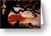 Home Painting Greeting Cards - Overlooking Tara at Sunset Greeting Card by Al  Molina