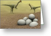 Dinosaurs Greeting Cards - Oviraptor Dinosaurs Greeting Card by Christian Darkin