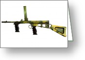 Gun Barrel Greeting Cards - Owen Gun, An Australian 9mm Submachine Greeting Card by Andrew Chittock