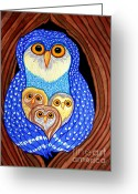 Owl Drawings Greeting Cards - Owl and Owlettes Greeting Card by Nick Gustafson