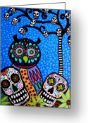 Turkus Greeting Cards - Owl And Sugar Day Of The Dead Greeting Card by Pristine Cartera Turkus