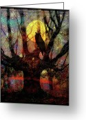 Stars Digital Art Greeting Cards - Owl And Willow Tree Greeting Card by Mimulux patricia no
