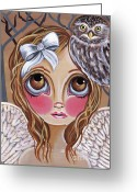 Surrealist Greeting Cards - Owl Angel Greeting Card by Jaz Higgins