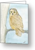 Owl Drawings Greeting Cards - Owl Greeting Card by Eva Ason