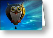 Balloons Greeting Cards - Owl Hot Air Balloon Greeting Card by Bob Orsillo