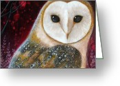 Shaman Greeting Cards - Owl Power Animal Greeting Card by Amanda Clark