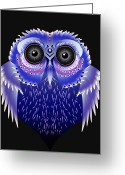 Owl Digital Art Greeting Cards - Owl Vector Greeting Card by Julie L Hoddinott