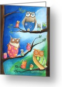 Childsroom Greeting Cards - Owls School Greeting Card by Sonja Mengkowski