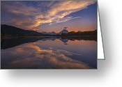 Teton National Park Greeting Cards - Ox Bow Bend Sunset Greeting Card by Joseph Rossbach