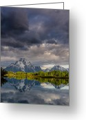 Grand Tetons National Park Greeting Cards - Oxbow Light and Clouds Greeting Card by Greg Nyquist
