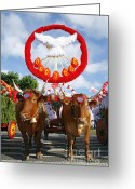 Multicultural Greeting Cards - Oxen cart Greeting Card by Gaspar Avila