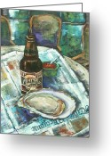 Food Art Painting Greeting Cards - Oyster and Amber Greeting Card by Dianne Parks