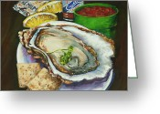 Louisiana Seafood Greeting Cards - Oyster and Crystal Greeting Card by Dianne Parks