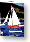 Oyster Mixed Media Greeting Cards - Oyster Boats Greeting Card by Brian Roscorla